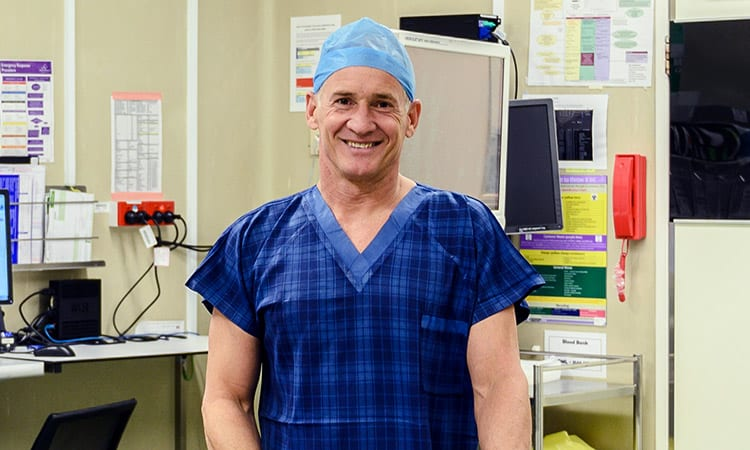 Dr Ian Martin in scrubs - ready for surgery